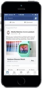 """Le bouton """"Acheter"""" de Facebook intégré à une publicité mobile - Cliquer pour agrandir"""