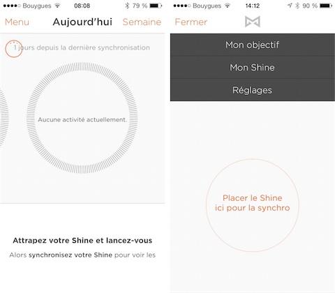 Synchronisation du Shine depuis l'application : elle se lance automatiquement quand on ouvre l'application (gauche), mais on peut aussi la déclencher manuellement en ouvrant le menu (droite).