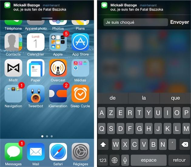 Notifications interactives d'iOS 8 : à droite, on peut répondre au message directement depuis la notification, sans avoir à quitter l'application en cours.