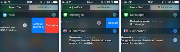Le Centre de notifications gagne en interactivité : de gauche à droite, on peut agir sur les mails, les messages et même sur n'importe quelle notification.