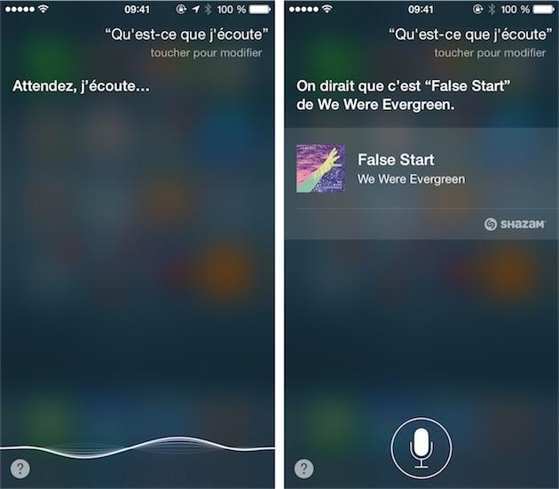 Avec iOS 8, on peut demander « Qu'est-ce que j'écoute? », et Siri lancera une reconnaissance audio pour proposer un résultat.