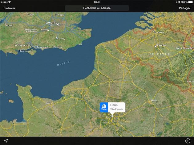 Quand une visite guidée virtuelle est disponible avec FlyOver, Plans affiche cette icône spécifique.
