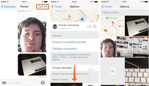iOS 8 rassemble toutes les pièces-jointes associées à chaque conversation.